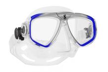 Masque de plongée, Scubapro, Zoom Evo bleu et jupe cristal